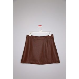 NWOT Faux Leather Size M Brown Mini Skirt